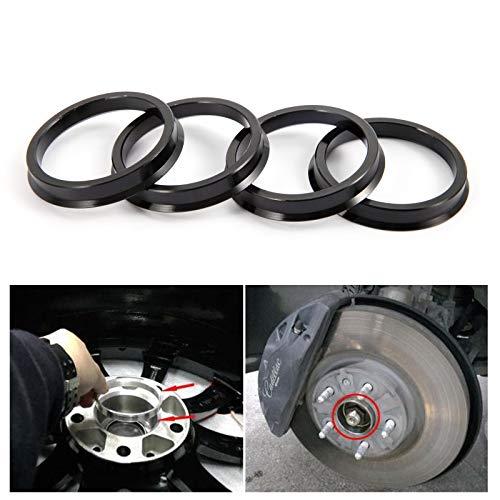 SurePromise 4 Pcs Anelli di Centraggio Anello Distanziatore per Cerchi Alluminio 66.6 57.1 per Molti Modelli di Audi VW Seat Skoda Mercedes BMW Nero