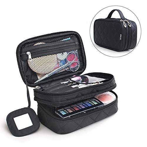 TRAVELMALL multifuncional 2 capa Make Up Bolsa Negro