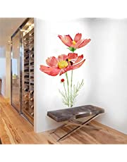Rawpockets Honey Bee on Red Flower' Wall Sticker (PVC Vinyl, 75 cm x 105cm, Multicolour)