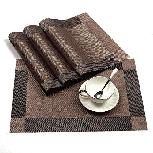 Four Heart Tischsets(4er Set), Rutschfest Abwaschbar Platzsets, 30x45cm PVC Abgrifffeste Hitzebeständig Platzdeckchen für küche Restaurant mit Geschenkbox (Braun)