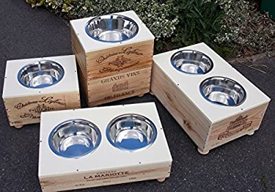 Personalised Raised Dog Feeder Bowl - Stainless Steel Bowl -WIne Box - JPS Direct Pet Supplies by JPS Direct