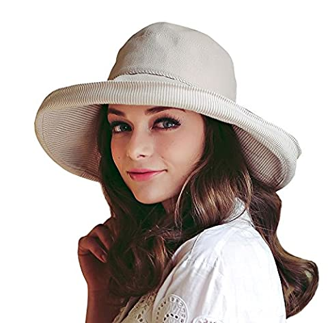 Women's Roll-up Brim Cloche Hat Round Crushable Bowler Hat Cap Cotton Beach Travel Sun Protection Bucket