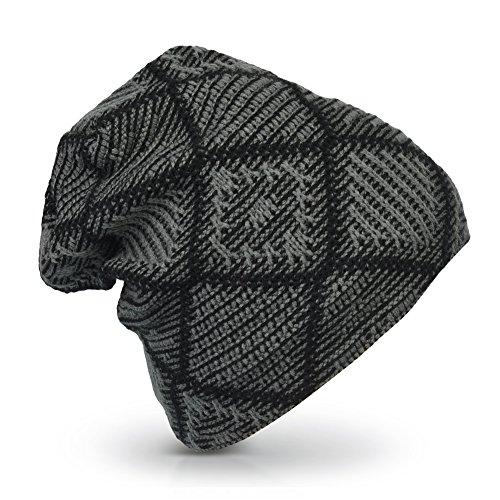 Vbiger Unisex Flexible Boina de Punto Invierno Caliente Gorro Cráneo (negro gris)