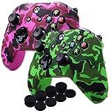 YoRHa Wassertransferdruck Silikon Hülle Abdeckungs Haut Kasten für Microsoft Xbox One X & Xbox One S controller x 2 (grün & dunkelrosa) Mit PRO aufsätze thumb grips x 8