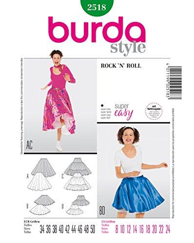 Burda 2518 Schnittmuster Kostüm Fasching Karneval Rock'n Roll (Damen, Gr. 34-50) - Level 1 super - Damen Mädchen Kostüm Anleitung