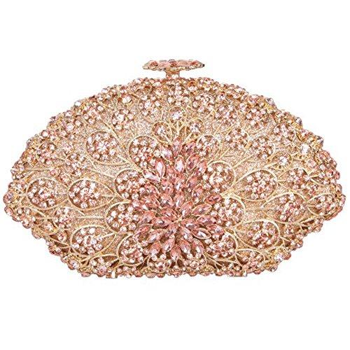 Santimon Donna Pochette Borsa Forma Conchiglia Partito Borsellini Diamante Cristallo Borse Da Festa di Nozze Sera Con Tracolla Amovibile 4 Colori champange