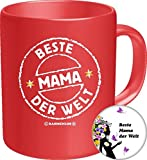 2535 Familien-Set Tasse+Button: Geburtstag Muttertag Tasse: BESTE MAMA, Geburtstagsgeschenk Premium Geschenk Tasse Keramik Original RAHMENLOS® in Geschenkbox + Button Beste Mama