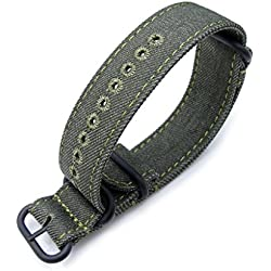 Zulu 20mm Military Green Watch Strap, Stitching Green, MiLTAT Thick X2 Washed Canvas, PVD