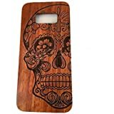 Samsung Galaxy S8 Plus Wood Case, CoCo Laser carving Marked Galaxy S8 Plus Wooden Case with Durable Polycarbonate Bumper Slim Covering Case for Samsung Galaxy S8 Plus 2017 Released (Skull-Rose wood)