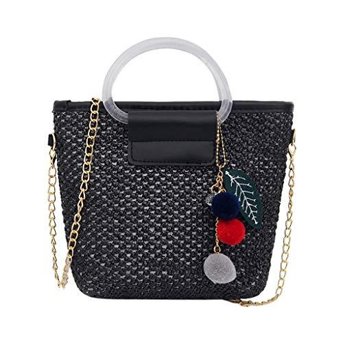 ro tragbare Stroh vielseitige Messenger Bag Fashion Schultertasche Schulterbeutel Geldbörse Münzfach ()