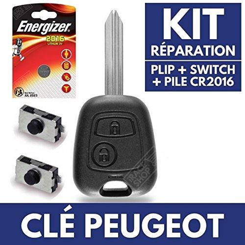 Jongo caja llave Auto–Carcasa para mando a distancia Peugeot Partner Expert ✚ pila CR2016Energizer