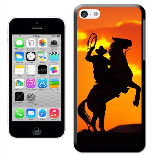 Fancy A Snuggle 'Silhouette of Cowboy On Horse Rearing Up' Hard Case Clip On Back Cover für Apple iPhone 5C