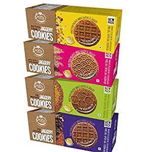Early Foods - Assorted Pack of 4 - Organic Ragi, Dry Fruit, Millet & Chocolate Jaggery Cookies X 4