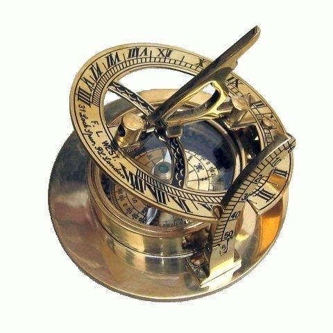 Hello.Nauticals.Store Kompass für Sonnenuhr, massives Messing, 7,6 cm