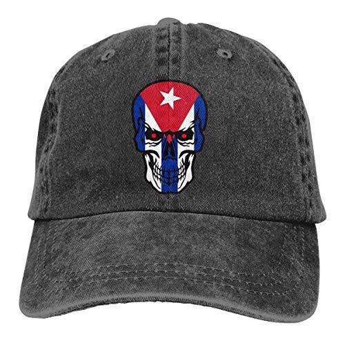 Hoswee Unisex Kappe/Baseballkappe, Cuba Flag Skull Men/Women Fashion Adjustable Baseball Cap Jeanet Back Closure Sun Hat