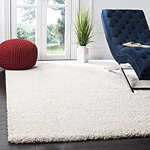 genius decors Microfiber Anti Slip Shaggy Fluffy Fur Rugs and Carpet for Living Room, Bedroom (Ivory, 4x6)