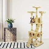 Tiragraffi Gatto albero 170Cm con Cuccia per Gatti Albero Parco giochi gioco tira graffi per Gatto colore Beige- AQPET