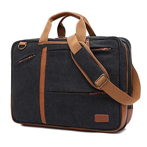 CoolBell 17,3 Zoll umwandelbar Aktentasche Rucksack Messenger Bag Mehrzweck Umhängetasche Business Travel Backpack Notebook Schultertasche Laptop Tasche für Laptop Herren(Canvas Schwarz) -