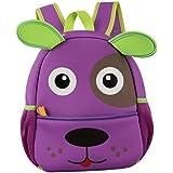 Happy cherry - 3D Superligera Mochila Infantil Escolar Impermeable Ergonómico Animal para Niños niñas bebés - Perro - Verde Azul Violeta Rosa