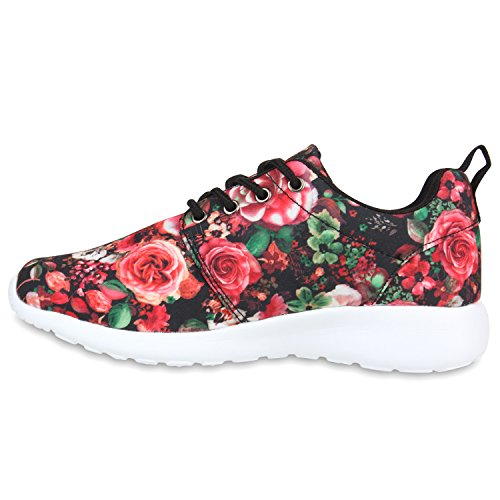 Damen Laufschuhe | Modische Sportchuhe| Sneaker Profilsohle |Glitzer Pailletten Sneakers | Runners Snake Blumen Schwarz Rot Blumen
