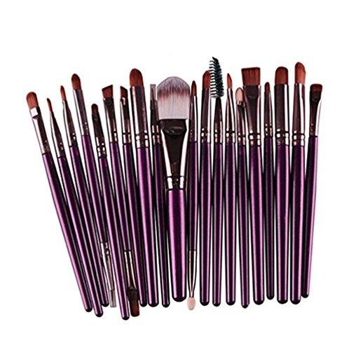 Dosige 20 pcs Set Pinceaux Professionnel Pinceaux de Maquillage Yeux Brosse de Brush Cosmétique - Violet Marron