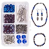 SUNNYCLUE 1 Box DIY 1 Set Jewelry Making Kit - Beading Starter Kits Jewelry Making Supplies for Adults, Girls, Teens and Women with Lobster Claw Clasps, Blue