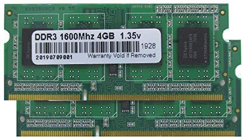 Speichererweiterung mit insgesamt 8 GB (2 X 4 GB) DDR3 PC12800/1600 MHz SODIMM für Dell, Asus, Acer, HP, Mac/iMac und andere Laptop der letzten Generation