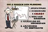 ComCard die 6 Phasen der Planung Lustig Comic Schild aus Blech