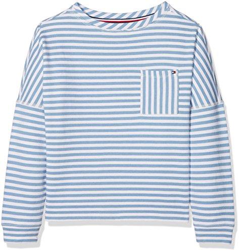 Tommy Hilfiger Mädchen Sweatshirt Ame True Stripe Boat Neck, Blau (Allure 491), 110 (Herstellergröße: 5) (Jumper Stripe)