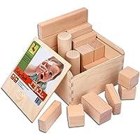 CreaBLOCKS - Blocchi da costruzione di legno per neonati, confezione da (Stacking Legno)