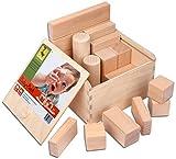 CreaBLOCKS Holzbausteine Baby-Pack  Holzbauklötze für Kleinkinder ab 6 Monate Holzklötze naturbelassen