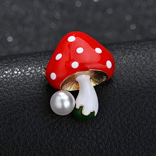 Olydmsky Brosche Pearl Pilz kleine Brosche Corsage Pullover Strickjacke Ausschnitt Stifte Schal Manschette Schnalle Montage weibliche Ornament -