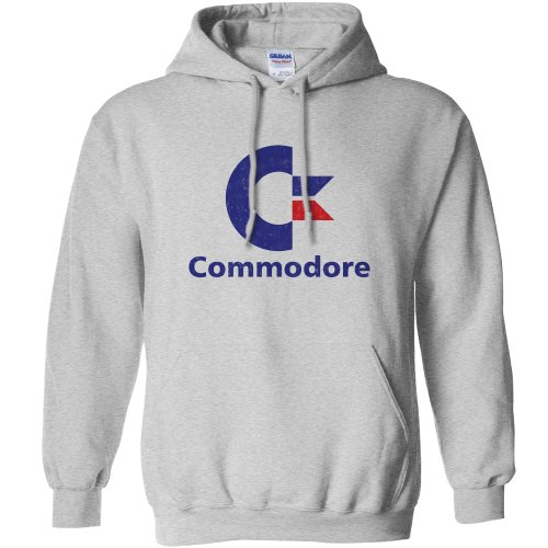 Mens Commodore Logo Hooded Top - Grey or Indigo - S to XXL