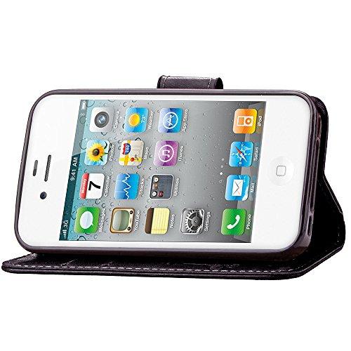 Etsue Apple iPhone 4/4S Bookstyle Coque ,Premium Folio Portefeuille Style Case pour Apple iPhone 4/4S,Individuality Motif Modèle avec Carte de Visite Dossier Fonction Housse pour Apple iPhone 4/4S + 1 trèfle Noir