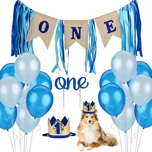 Legendog Hund Geburtstag 1, enthält Hund EIN Geburtstagsbanner - Geburtstag Luftballons-Crown Hund Geburtstag Hut für Katze Puppy Dog Party Supplies