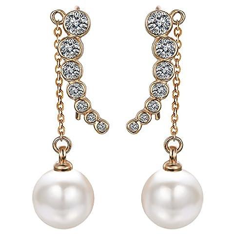 Yoursfs Boucles d'oreilles clous plaqué Or Pendantes en Cristal et Perle de culture avec chaîne forme de Pois cosse bijoux fantaisie pour Femme