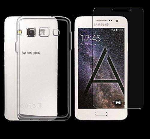 Minto Schutzhülle und Panzerglasfolie für iPhone 7 / iPhone 8 Hülle TPU Case Silikon Crystal Cover Durchsichtig Ultradünn 0.6mm (verkleinerte Folien, aufgrund der Wölbung des Displays) Galaxy A5 (2015)