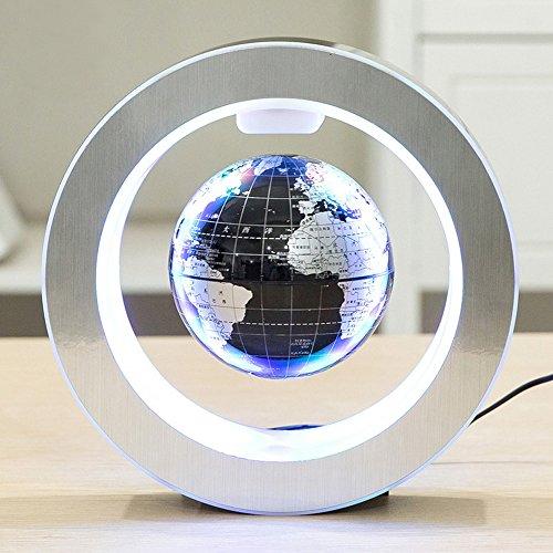 Magnetischer Schwebender Globu,Beetest 4inch Magnetic Levitation Schwebender Globus mit LED-O-Form-Basis rotierenden Planeten Erde Globus für Tischdekoration Bildung Weihnachten Geburtstag Geschenk-EU-Stecker Schwarz Schwebender Globus