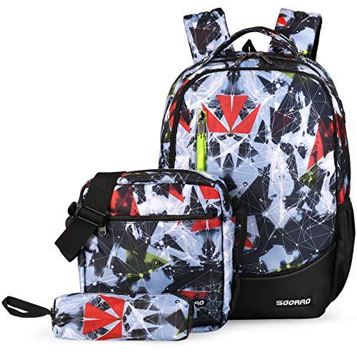 SOOHAO Schulrucksack Jungen Teenager Schulranzen Mädchen Jugendliche Schultasche Set 3tlg fur 15 Zoll Laptop