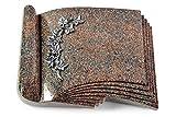 MEMORUM Grabmale Grabbuch, Grabplatte, Grabstein, Grabkissen, Urnengrabstein, Liegegrabstein Modell Prestige 40 x 30 x 8-9 cm Paradiso-Granit, Poliert inkl. Gravur (Aluminium-Ornament Efeu)