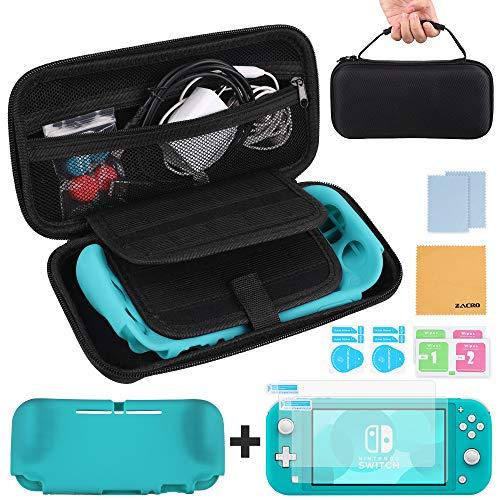 Zacro kit Custodia per Nintendo Switch Lite, Include 2 Protezioni per Schermo HD, Cavo di Ricarica USB-C, 2 Coppie di Tappi a Bilanciere con Impugnatura e Panno per La Pulizia