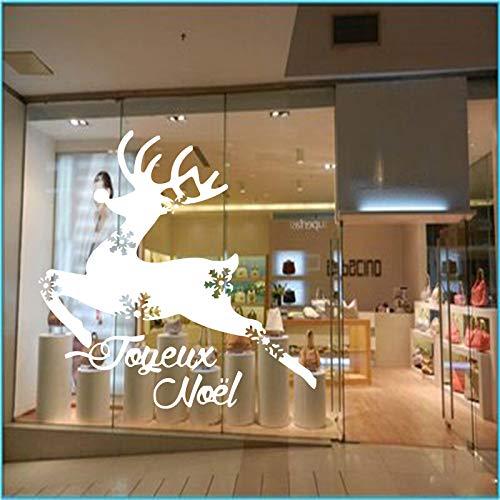 wukongsun Français Stickers muraux Maison Vinyle Stickers muraux noël décoration Maison décoration Salon Flocon de Neige Renne Applique Blanc 55x55cm