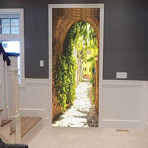 XSLIVE Türaufkleber Door Bow Sticker Home Decoration Beautiful Landscape Self-Adhesive Waterproof Wallpaper Living Room Face Decals 77 * 200cm -