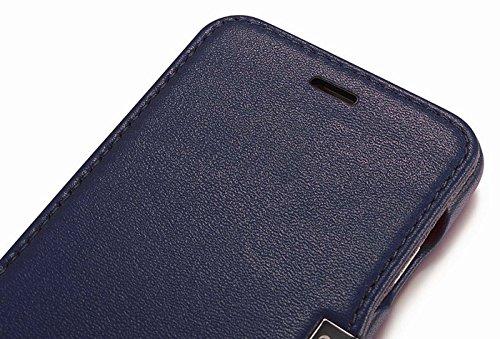 Luxus Tasche für Apple iPhone 6S Plus und iPhone 6 Plus (5.5 Zoll) / Case Außenseite aus Echt-Leder / Innenseite aus Textil / Schutz-Hülle seitlich aufklappbar / ultra-slim Cover / Hülle mit Standfunk Blau - glatt