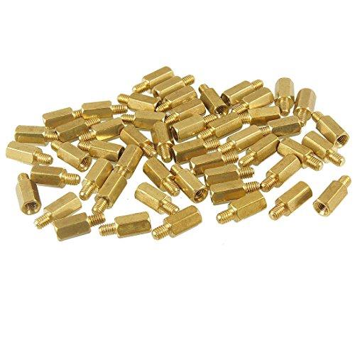 SODIAL(R) M3 Male x M3 Female 8mm Long Hexagonal Brass PCB Standoffs Spacers 50 Pcs