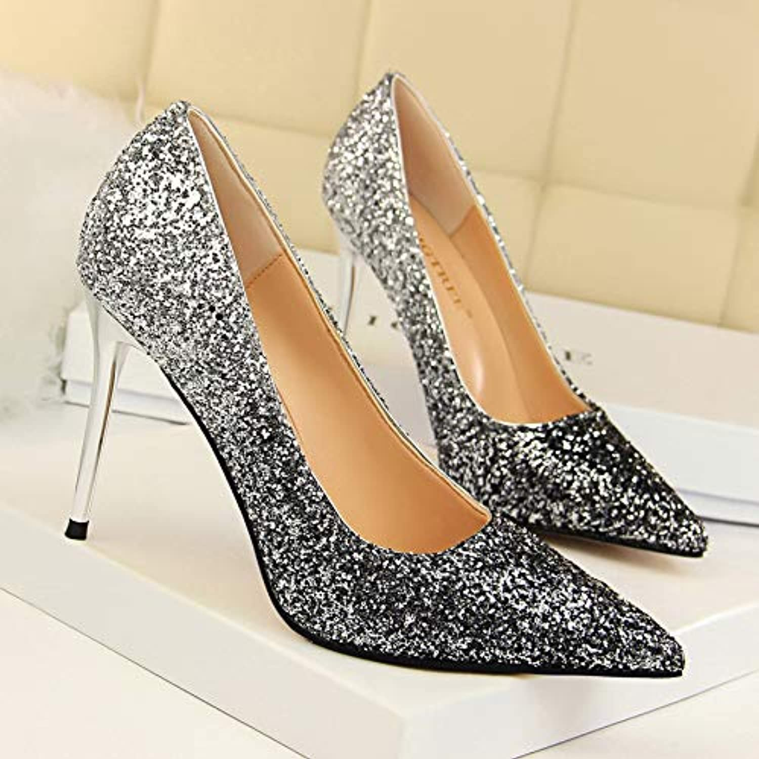 6d788ce6a36 Yukun High heels Sequined Pointed Pointed Pointed Shallow Mouth High Heel  Women S Fine With Single Shoes