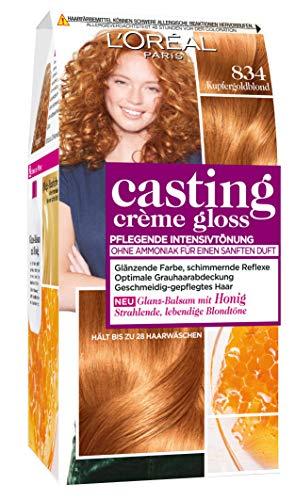 L'Oréal Paris Casting Crème Gloss Glanz-Reflex-Intensivtönung 834 in Kupfergoldblond - Rotes Haar Creme