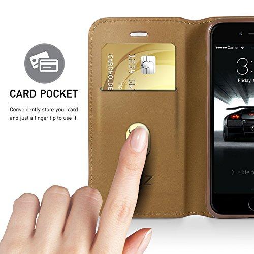 iPhone 7 Hülle, iPhone 8 HülleHandyhülle iPhone 7 Tasche, BEZ® Flip Case Cover klappbar aus Klappetui mit Kreditkartenhaltern, Ständer, Magnetverschluss - Schwarz Braun