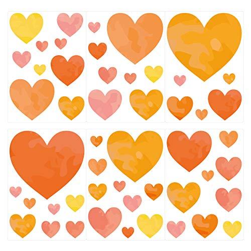 dekodino® Wandtattoo Aquarell Herzen gelb orange 50 Stück Wandsticker Set - Orange Aquarell