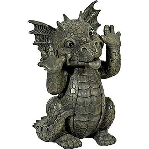 Oggetto ornamentale da giardino Dragon tirando Faces, figura, Gargoyle